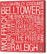 Nc State College Colors Subway Art Acrylic Print