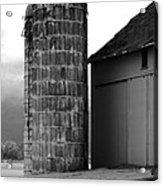 Near Infrared Old Michigan Barn With Silos Bw Usa Acrylic Print