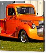 Neat Vintage Chevrolet Truck In Bright Orange Acrylic Print