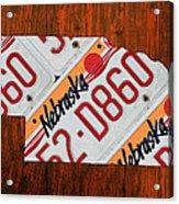 Nebraska License Plate Map Art Acrylic Print