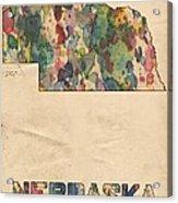 Nebraska Map Vintage Watercolor Acrylic Print