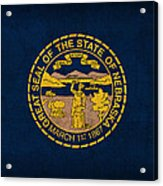 Nebraska State Flag Art On Worn Canvas Acrylic Print