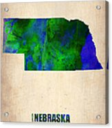 Nebraska Watercolor Map Acrylic Print