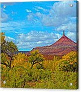 Needle-topped Butte From Highway 211 Going Into Needles District Of Canyonlands National Park-utah  Acrylic Print