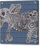 Nelly The Elephant Denim Acrylic Print