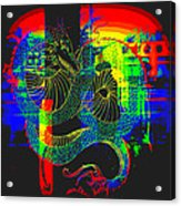 Neon Dragon Painted Acrylic Print