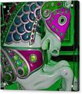 Neon Green Carousel Horse Acrylic Print
