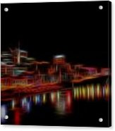 Neon Nashville Skyline At Night Acrylic Print