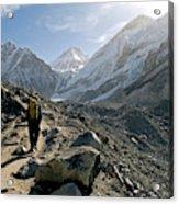 Nepal A Trekker On The Everest Base Acrylic Print