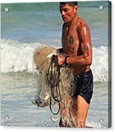 Net Fisherman In Tulum Acrylic Print
