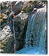 Net Fishing In Bulkley River In Moricetown-british Columbia-canada Acrylic Print
