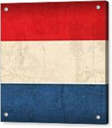 Netherlands Flag Vintage Distressed Finish Acrylic Print by Design Turnpike