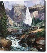 Nevada Falls Rendition By W Scott Fenton Acrylic Print by W  Scott Fenton