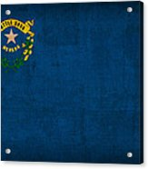 Nevada State Flag Art On Worn Canvas Acrylic Print