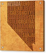Nevada Word Art State Map On Canvas Acrylic Print