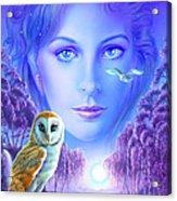 New Age Owl Girl Acrylic Print