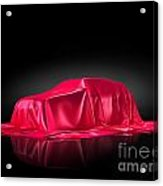 New Car Model Under Red Covering Acrylic Print
