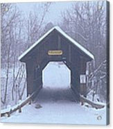 New England Covered Bridge In Winter Acrylic Print