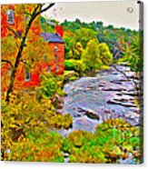 New England Stream In Fall Acrylic Print