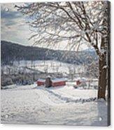 New England Winter Farms Morning Square Acrylic Print