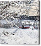 New England Winter Farms Square Acrylic Print