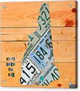 New Hampshire License Plate Map Live Free Or Die Old Man Of The Mountain Acrylic Print by Design Turnpike