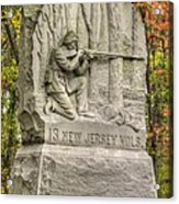 New Jersey At Gettysburg - 13th Nj Volunteer Infantry Near Culps Hill Autumn Acrylic Print by Michael Mazaika