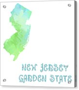New Jersey - Garden State - Map - State Phrase - Geology Acrylic Print