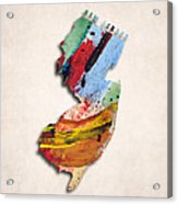New Jersey Map Art - Painted Map Of New Jersey Acrylic Print