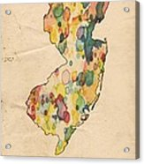 New Jersey Map Vintage Watercolor Acrylic Print