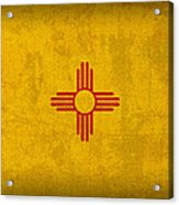 New Mexico State Flag Art On Worn Canvas Acrylic Print