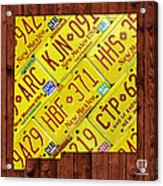 New Mexico State License Plate Map Acrylic Print