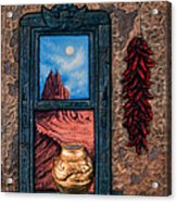 New Mexico Window Gold Acrylic Print