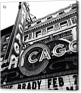Chicago Theatre Sign Black and White Photo Acrylic Print