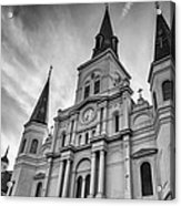 New Orleans St Louis Cathedral Bw Acrylic Print