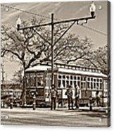 New Orleans Streetcar Sepia Acrylic Print