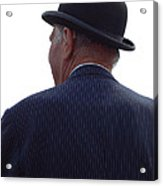 New Photographic Art Print For Sale   Iconic London Man In Bowler Hat Acrylic Print