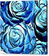 Pop Art Blue Roses Acrylic Print