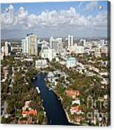 New River And Downtown Fort Lauderdale Acrylic Print