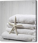 New White Towels Acrylic Print by Amanda Elwell