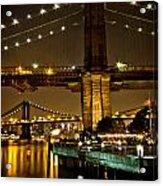 New York - Brooklyn Bridge Night Acrylic Print