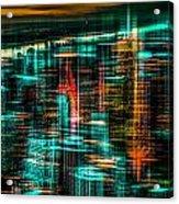 New York - The Night Awakes - Green Acrylic Print by Hannes Cmarits