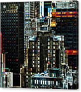 New York At Night - Skyscrapers And Office Windows Acrylic Print