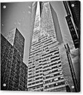 New York - B And W Hdr Bank Of America Acrylic Print