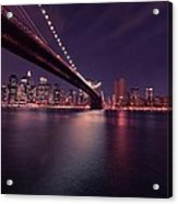 New York Brooklyn Bridge At Night Acrylic Print