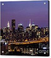 New York By Night Acrylic Print