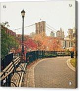 New York City - Autumn - Brooklyn Bridge And Foliage Acrylic Print