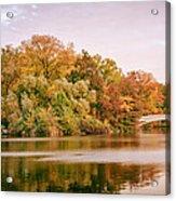 New York City - Autumn - Central Park - Lake And Bow Bridge Acrylic Print