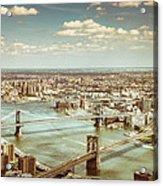 New York City - Brooklyn Bridge And Manhattan Bridge From Above Acrylic Print