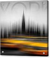 New York City Cabs Abstract Acrylic Print